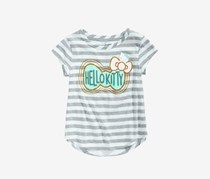 Hello Kitty Toddlers Striped Bow-Print T-Shirt, Pastel Green/Grey