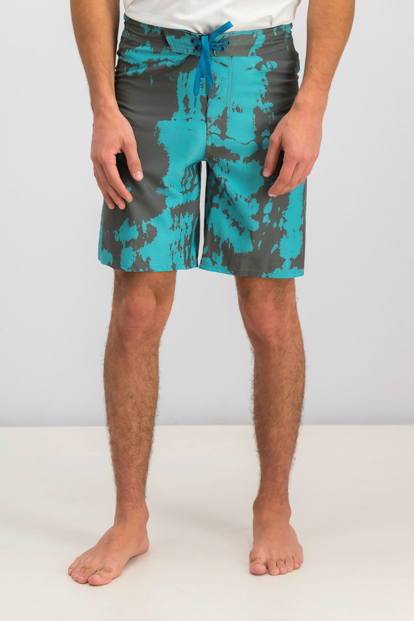 Men's Printed Short, Gray/Teal Combo