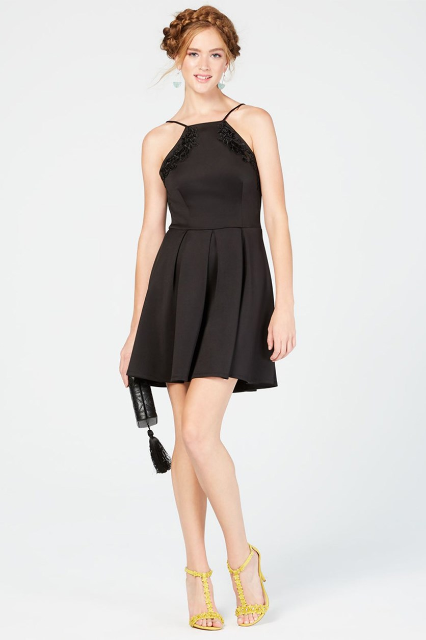 Junior's Embellished Open-Back Fit & Flare Dress, Black