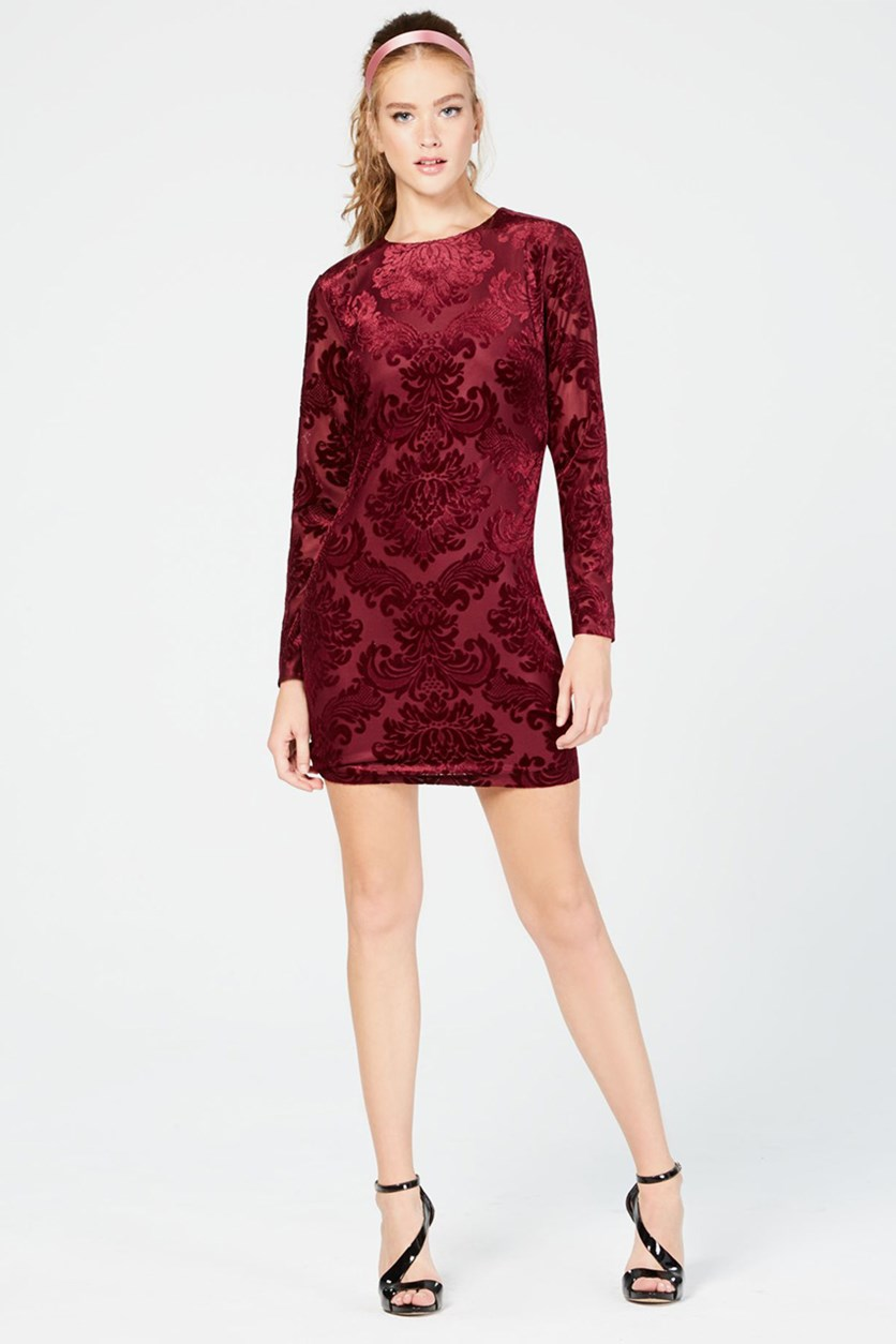 Juniors' Velvet Bodycon Dress, Burgundy