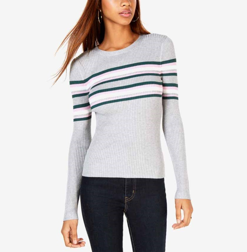 Women's Long Sleeve Striped Ribbed Zip Top, Gray