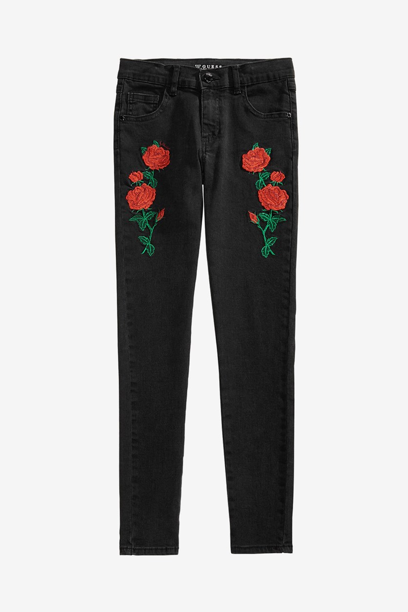 Big Girls Embroidered Super Skinny Jeans, Wash Black