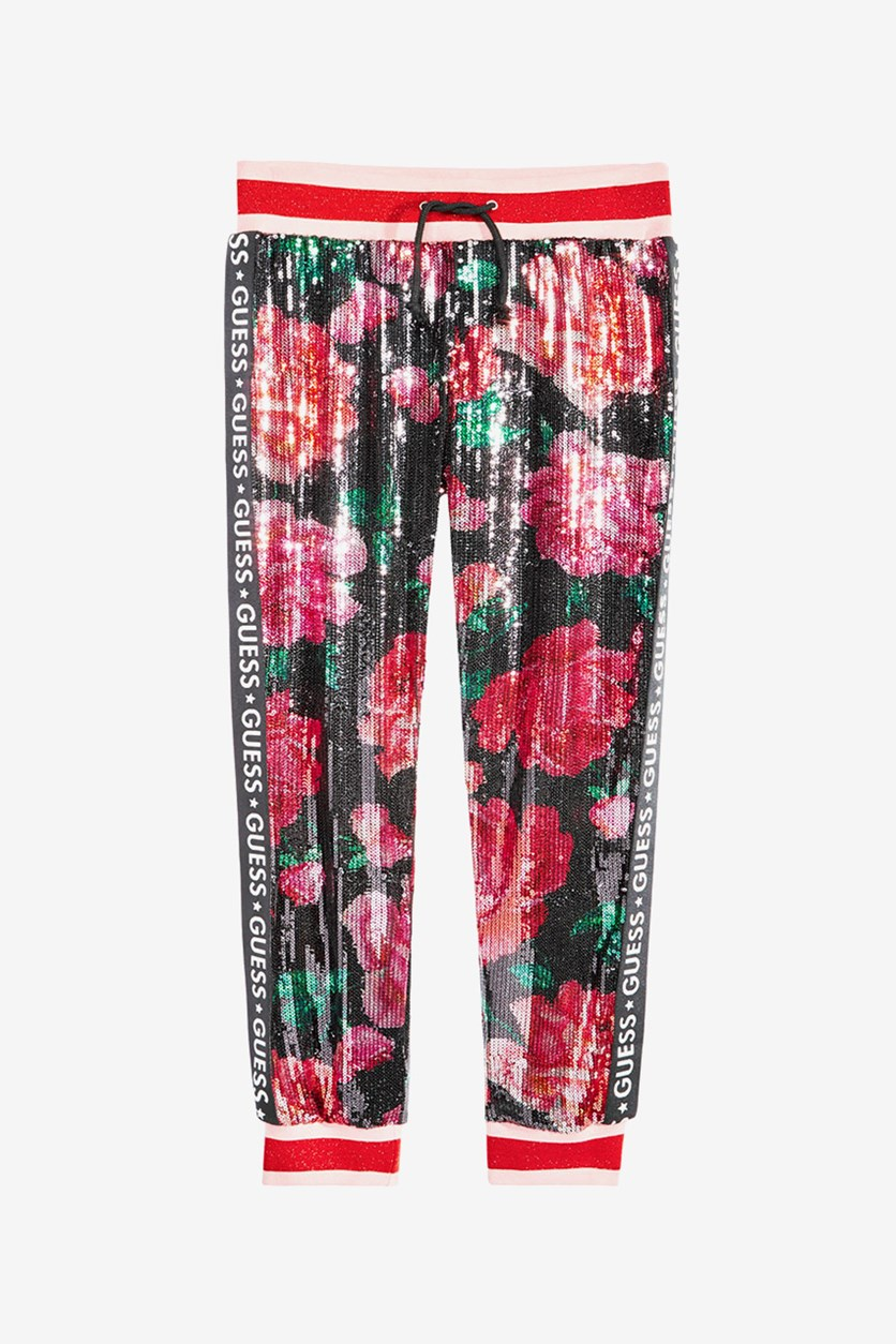 Girls Sequin Floral Jogger Pants, Coral Blossom Pink