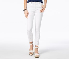 Tommy Hilfiger Women's Skinny Embroidered Ankle Jeans, White