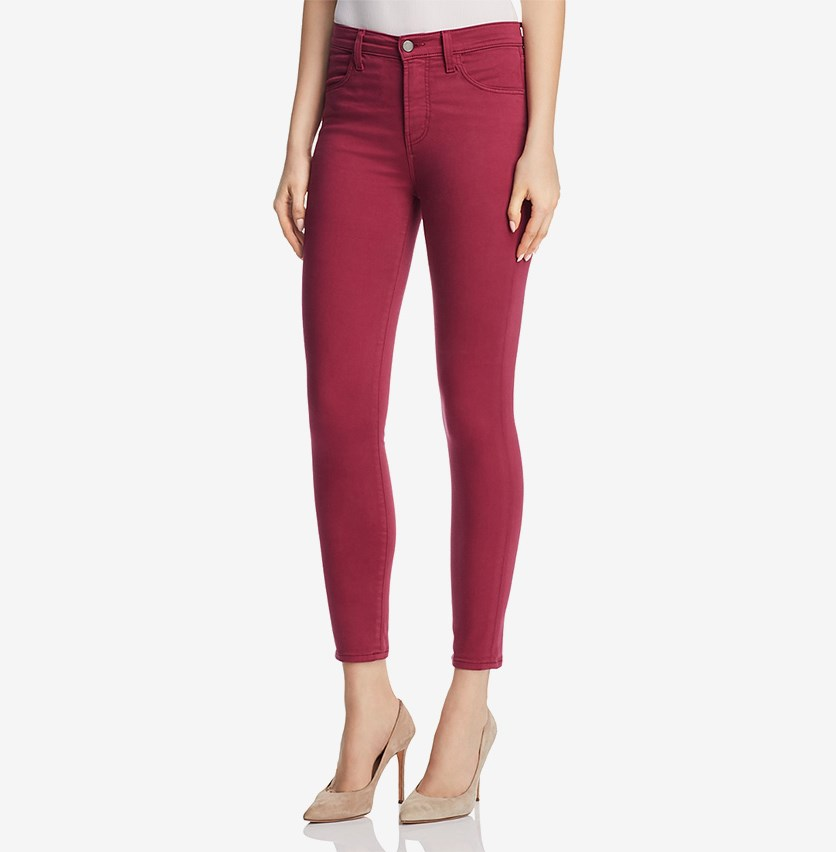 Womens Alana High Rise Colored Skinny Crop Jeans, Deep Plum