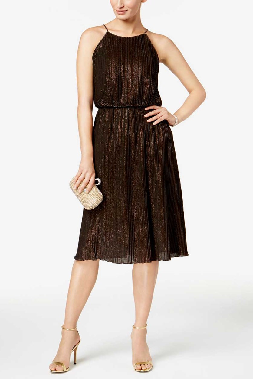Women's Mini-Pleated Metallic Dress, Copper