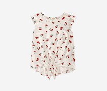 Monteau Big Girls Cherry-Print Tie-Front Top, White