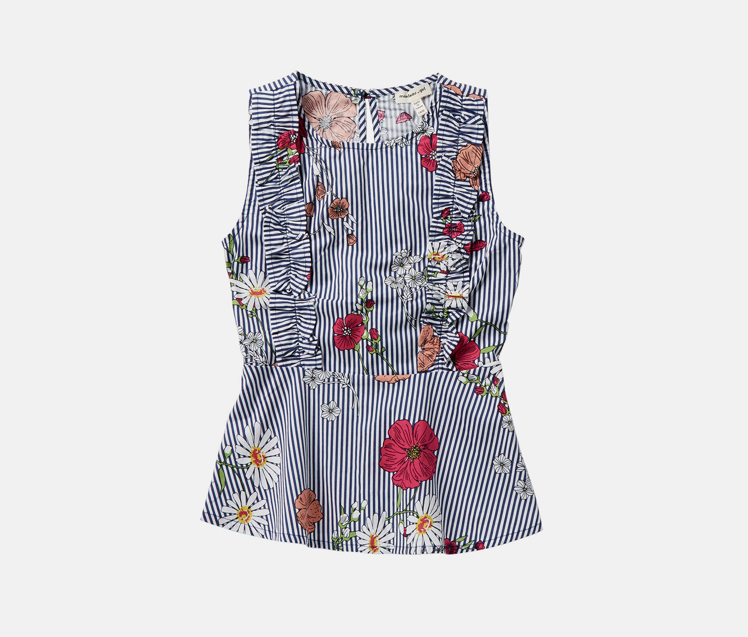 Couture Stripe Floral Printed Peplum Top, Navy Combo