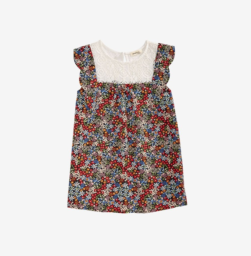 Girl's Floral Print Top, Red/White/Blue