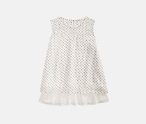 Monteau Big Girls Popover Dot Print Top, White