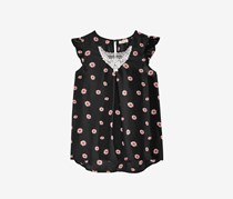 Monteau Big Girl's Floral-Print Top, Black Floral