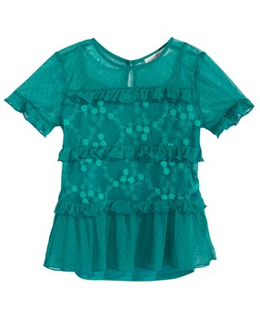 Kandy Kiss  girl's Embroidered Top & Camisole Set, Green