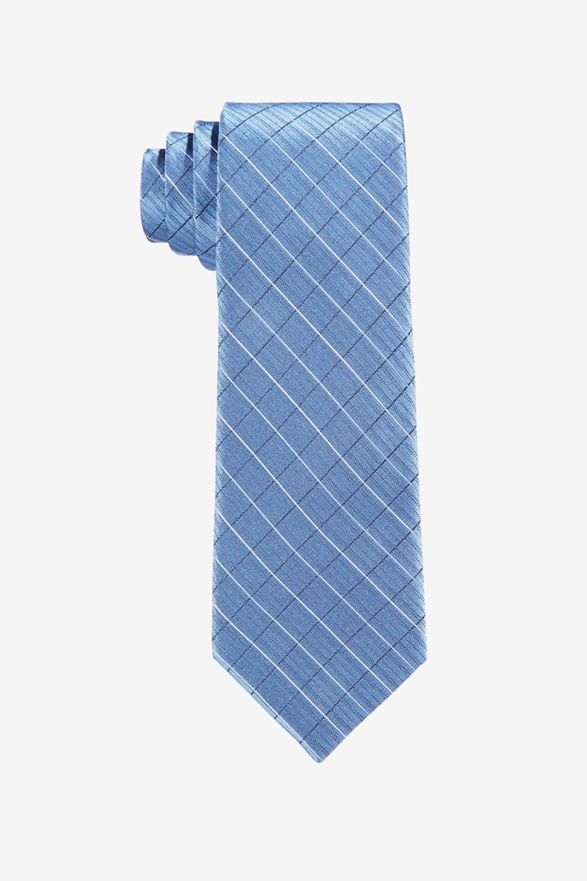 Boys Etched-Grid Tie, Slate Blue