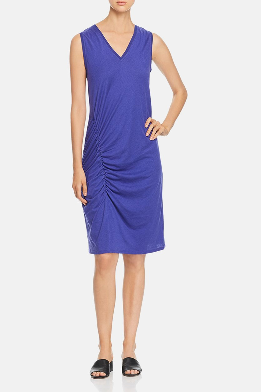 Womens Jersey V-Neck Casual Dress, Spectrum Blue