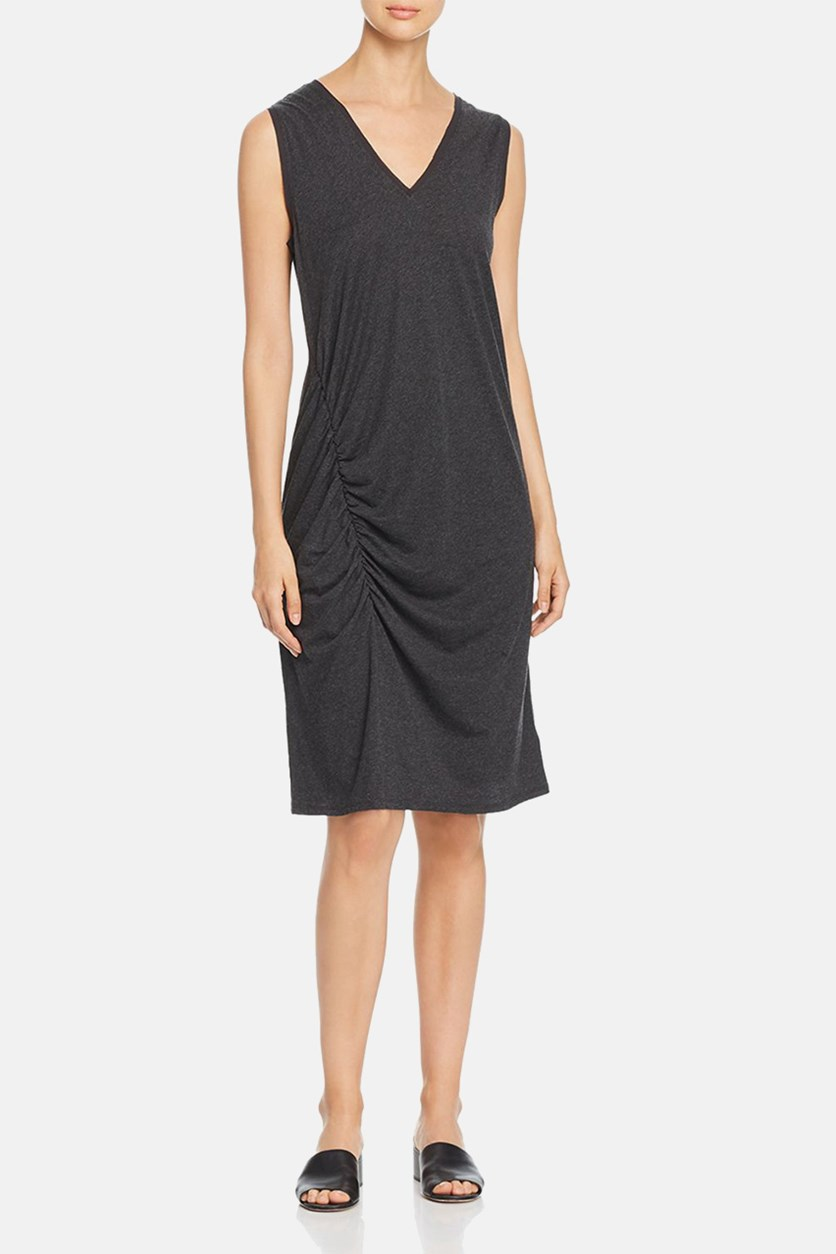 Womens Jersey V-Neck Casual Dress, Charcoal Grey