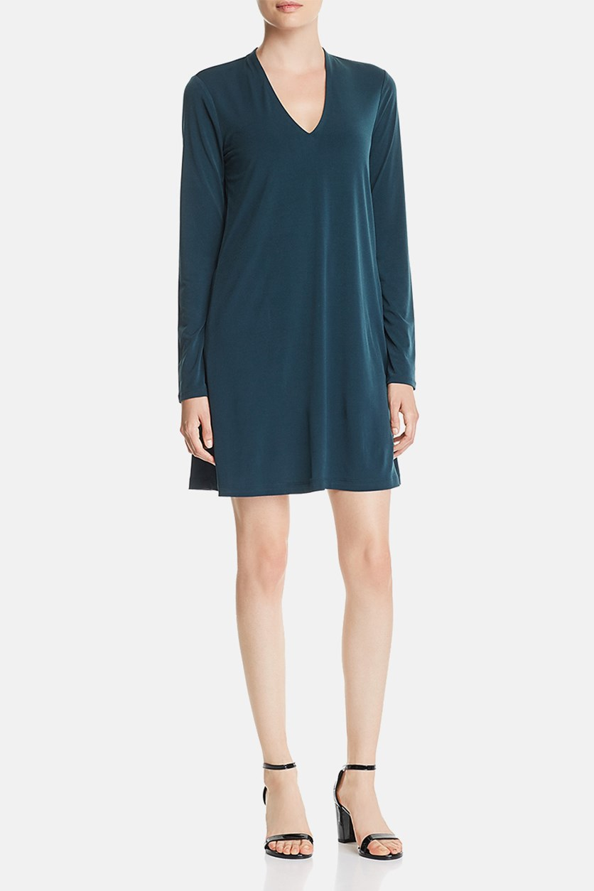 New York V-Neck Shift Dress, Petrol
