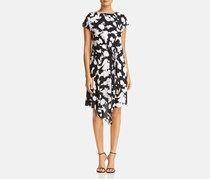 Kenneth Cole Gathered Front Printed Dress, Black/Ivory