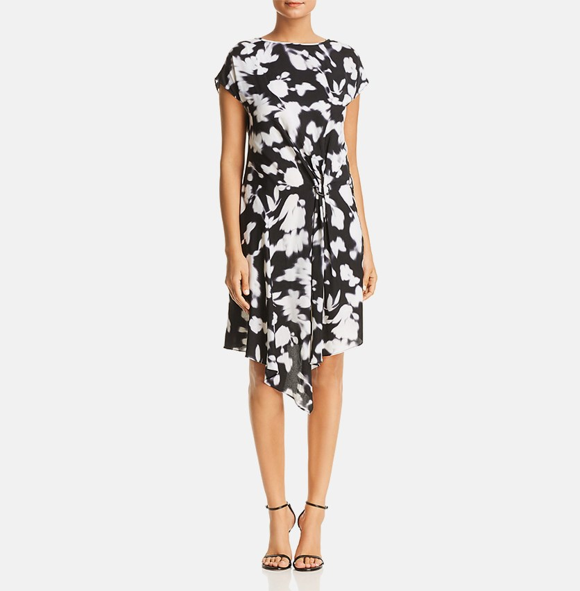 Gathered Front Printed Dress, Black/Ivory