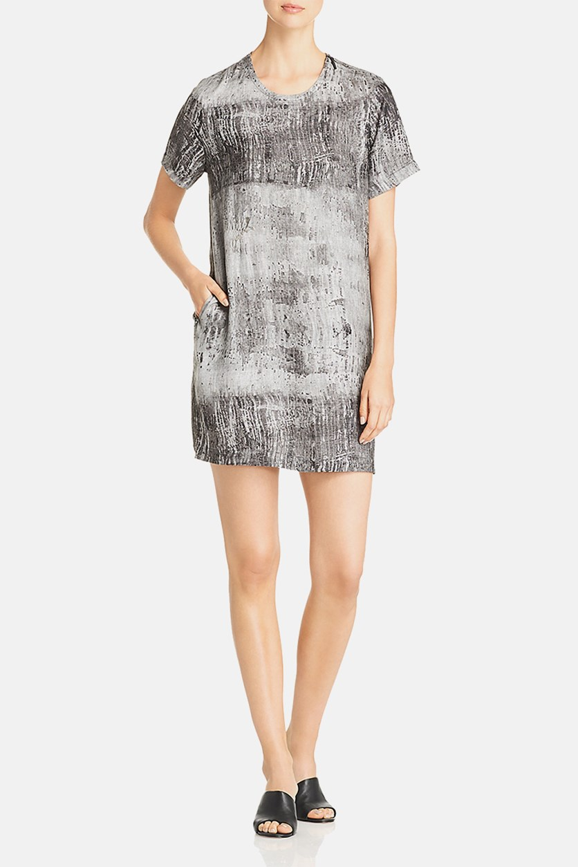 Metallic Print Shift Dress, Night Fog Grey
