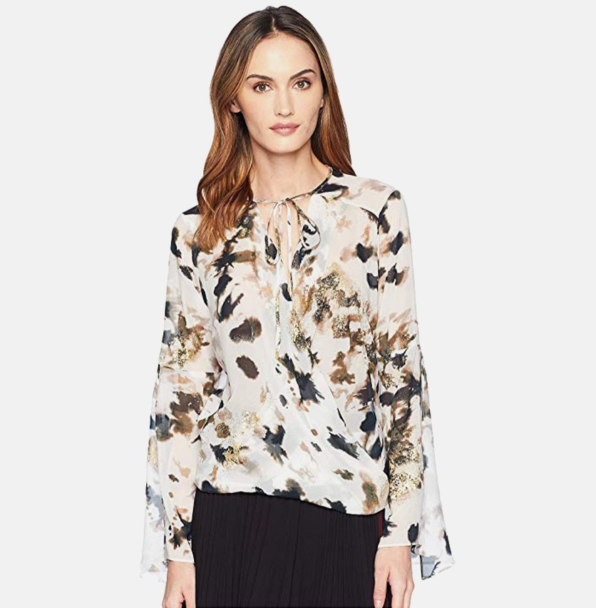 Womens Wrap Flounce Blouse, Urban Camouflage
