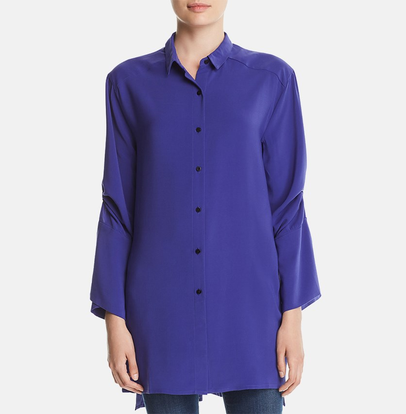 Tab-Sleeve Tunic Shirt, Spectrum Blue