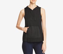 Kenneth Cole Women's Mixed-Media Sleeveless Hoodie, Black