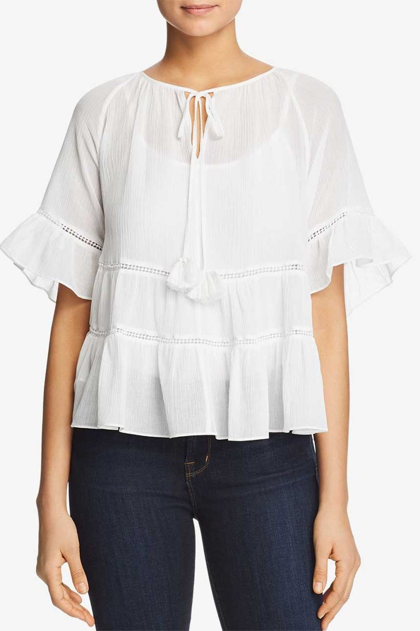 Ruffled Peasant Top, White