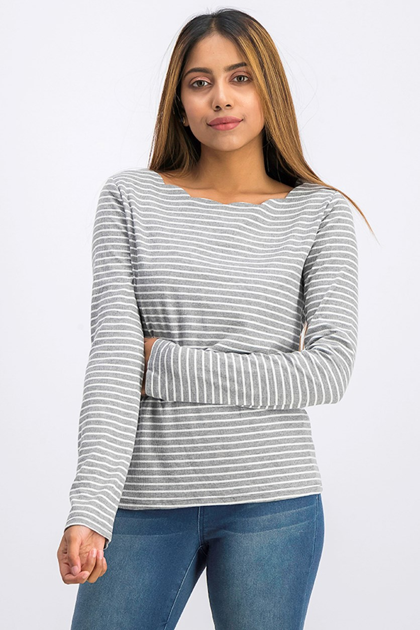 Women's Stripe Tops, Gray Combo