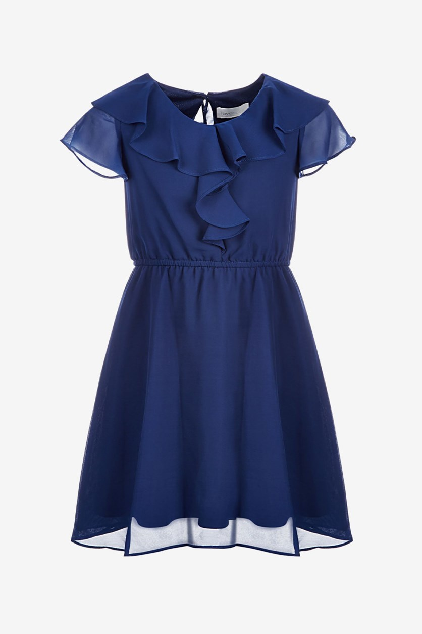 Big Girls Ruffle-Trim Chiffon Dress, Navy