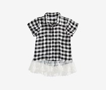 Beautees Big Girls Lace-Hem Plaid Shirt, Black