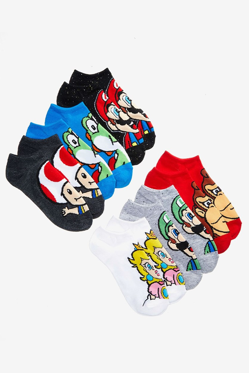 Mario Bros. 6-Pack Mario Graphic-Print Socks, Red/Black/Blue Combo