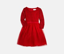 Girls' Lace & Tulle Dress, Red