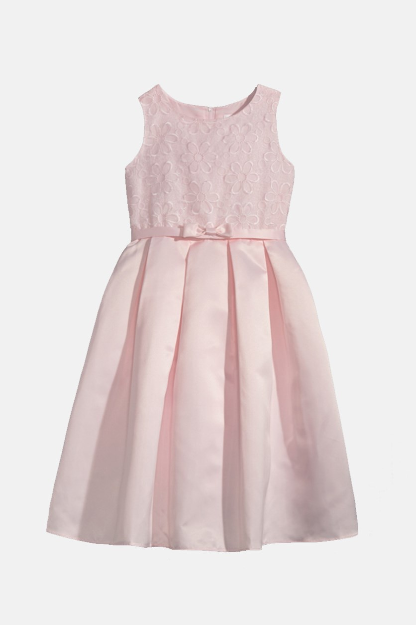Kids Girls Embroidered Organza Satin Dress, Pink