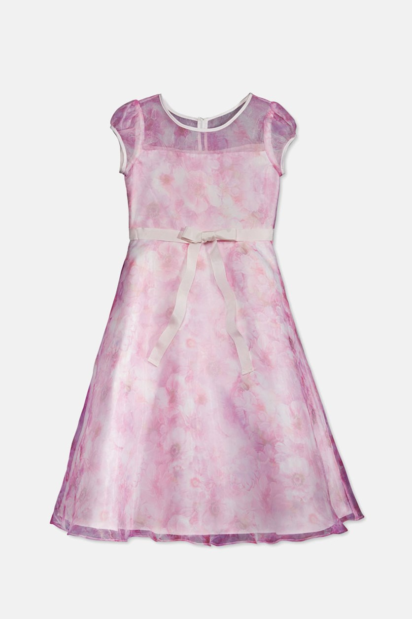 By Us Angels Illusion-Neck Floral Dress, Pink