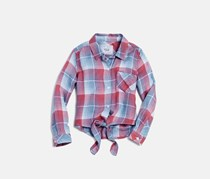 Rails Girls' Valerie Tie-Front Plaid Shirt, Laguna Rose