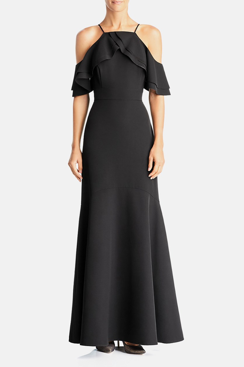 Cold-Shoulder Ruffle Gown, Black