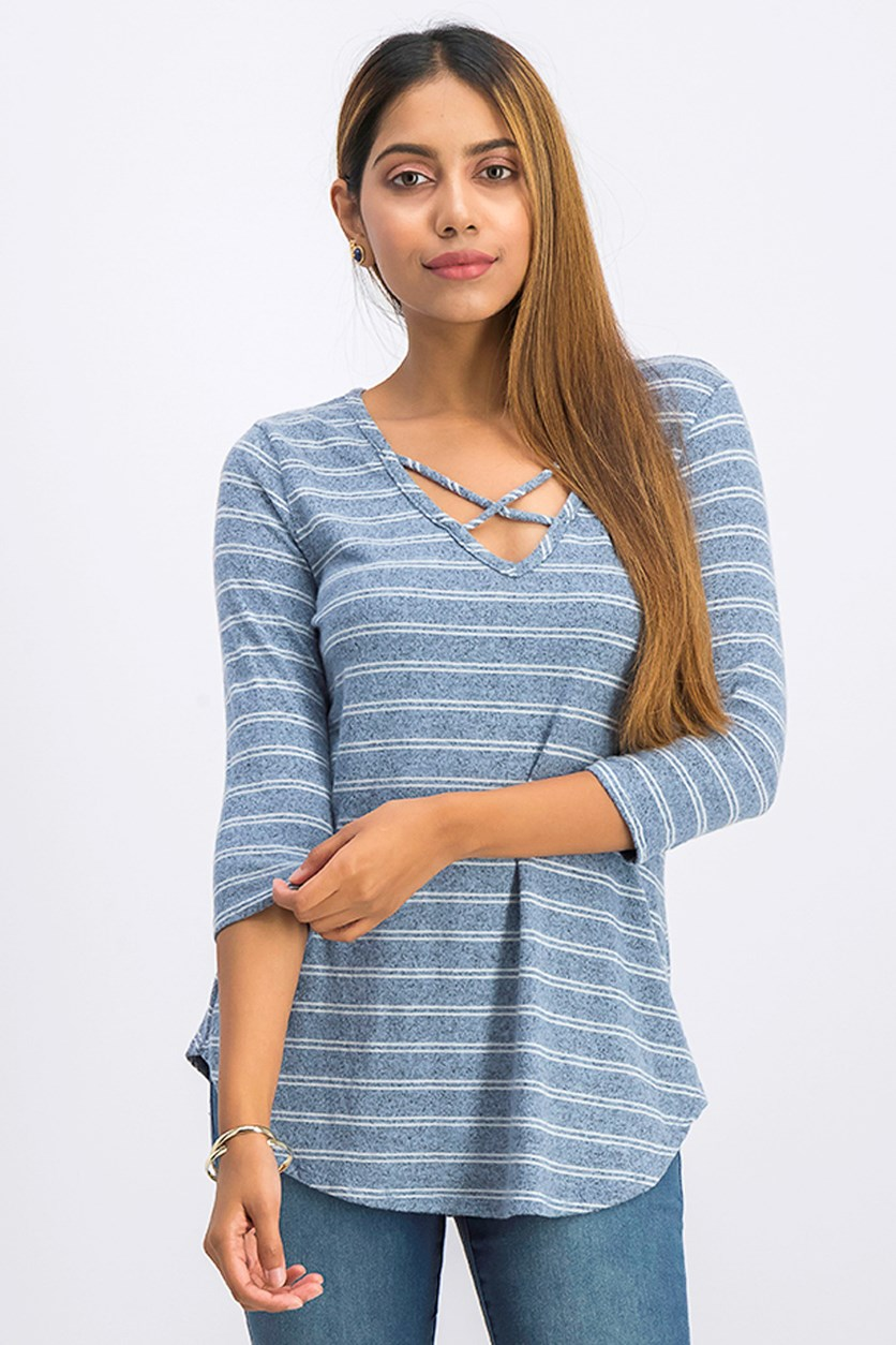 Women's Stripe Pull Over Top, Heather Blue/White