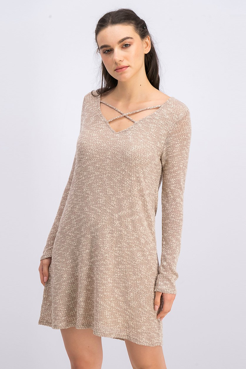Women's Long Sleeve Dress, Beige Combo