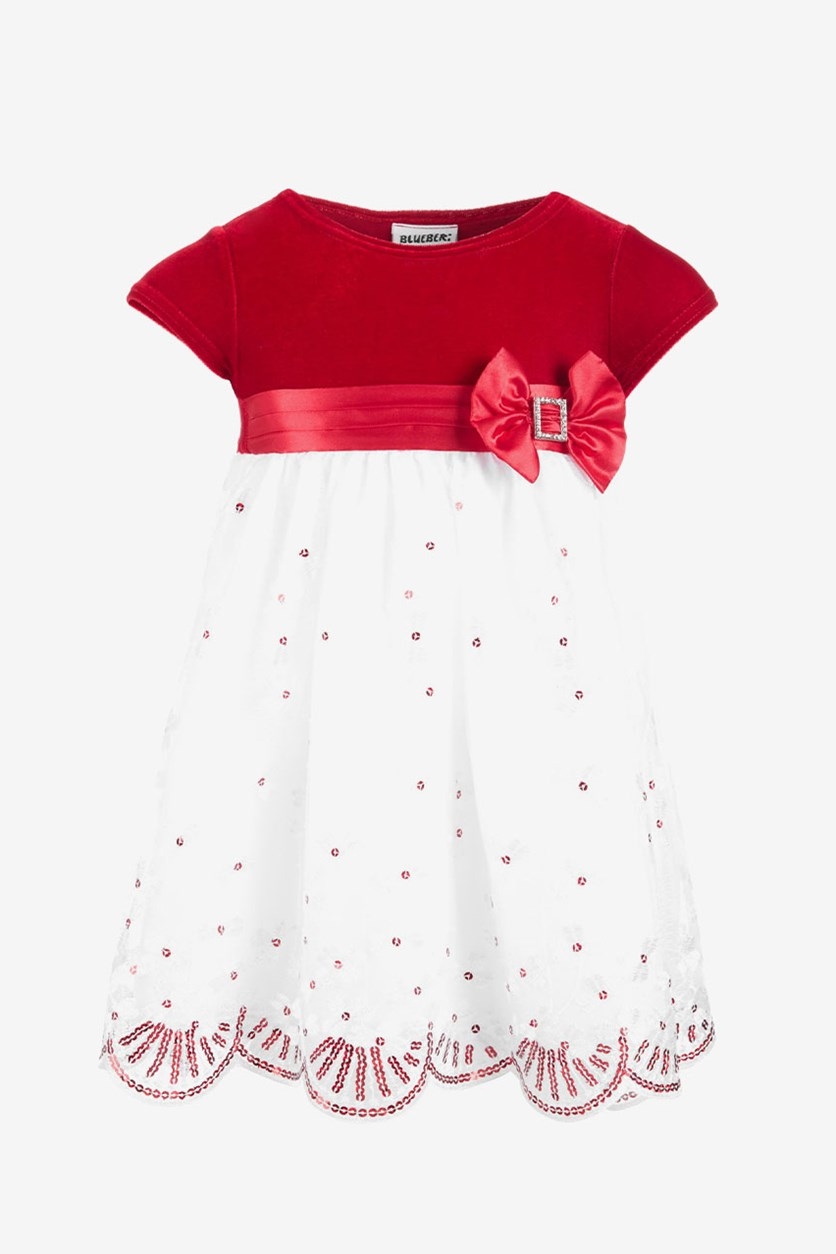 Toddlers Girls Pullover Dress, Red/ White