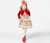 Toddler Girls 2-Pc. Shrug & Striped Dress Set, Red Combo