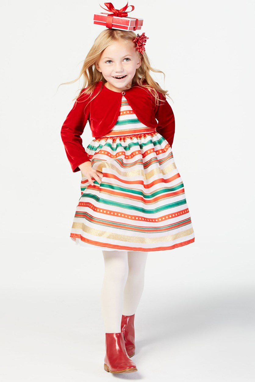 Boulevard Little Girls 2-Pc. Shrug & Striped Dress Set, Red Combo
