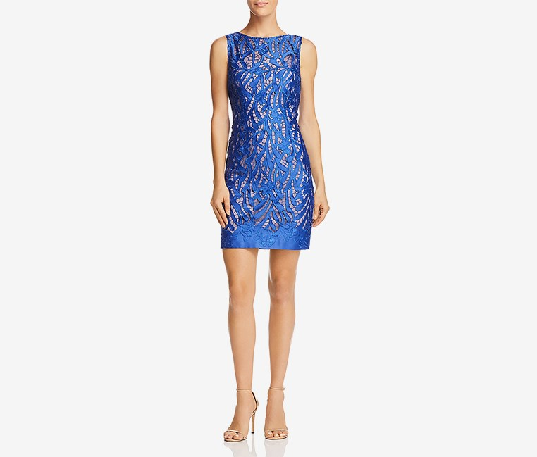 Women's Lace Satin Trim Cocktail Dress, Blue