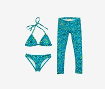 Mahina Mermaid Girl's 3-Piece Set Swimwear, Aqua