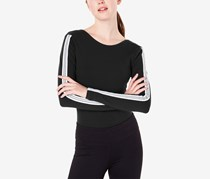 Material Girl Active Juniors' Sporty Striped Bodysuit, Black