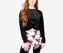 Juniors' Twist-Front Velour Top,  Black