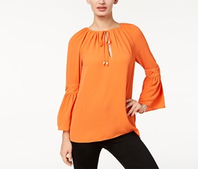Michael Kors Women's Lace-Trim Peasant Top, Orange