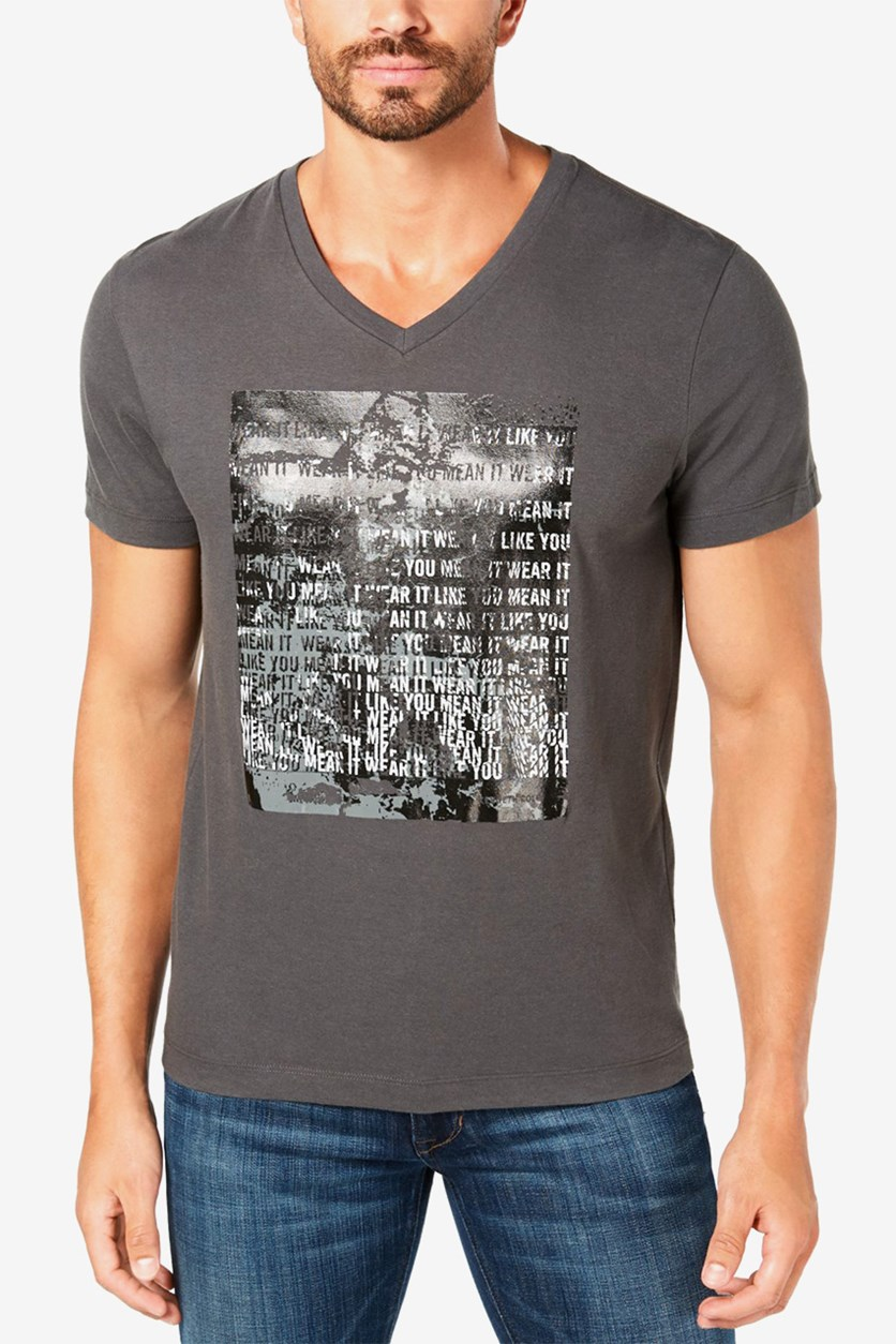 Kenneth Cole Men's V-Neck Graphic T-Shirt, City Shadow