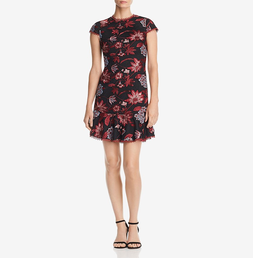 Embroidered Cocktail Dress, Black/Burgundy