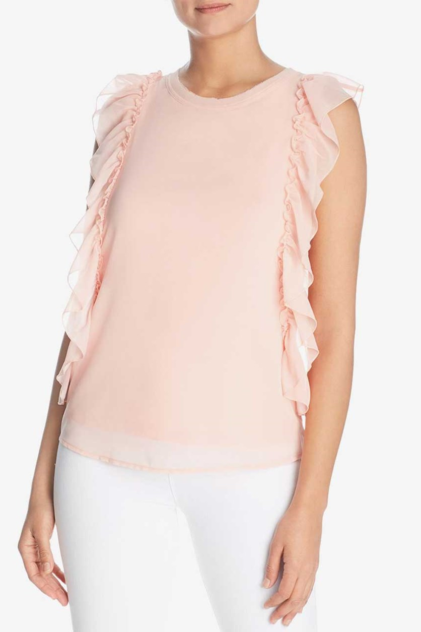 Womens Ruffled Blouse, Sahara Rose
