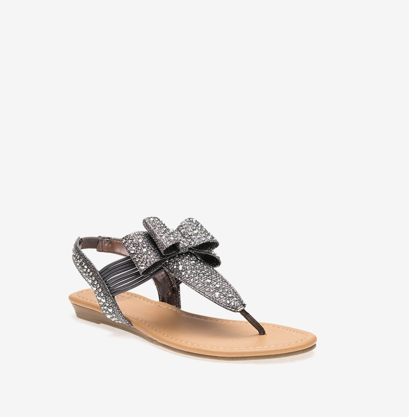 Shayleen Flat Slingback Thong Sandals, Pewter
